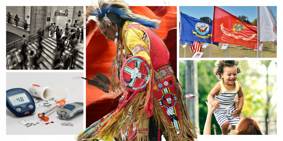 photos representing various causes: a crowd for stress, insulin for diabetes, a Native American in regalia, flags of the US armed forces, a child smiling in the arms of an adult