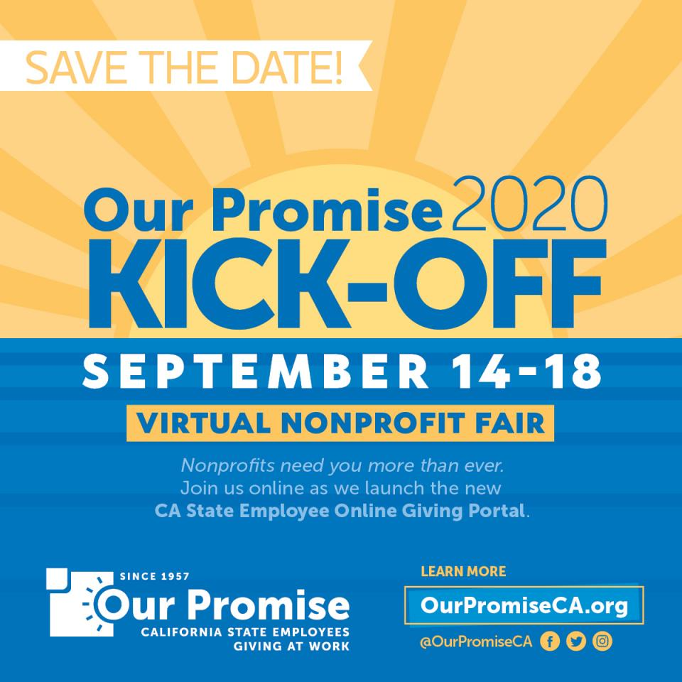 Text: Our Promise 2020 Kick Off | Sept 14-18 | Virtual Nonprofit Fair