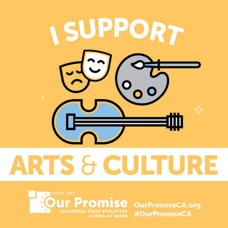I Support: ARTS & CULTURE. icons: masks, painter's pallette, violin