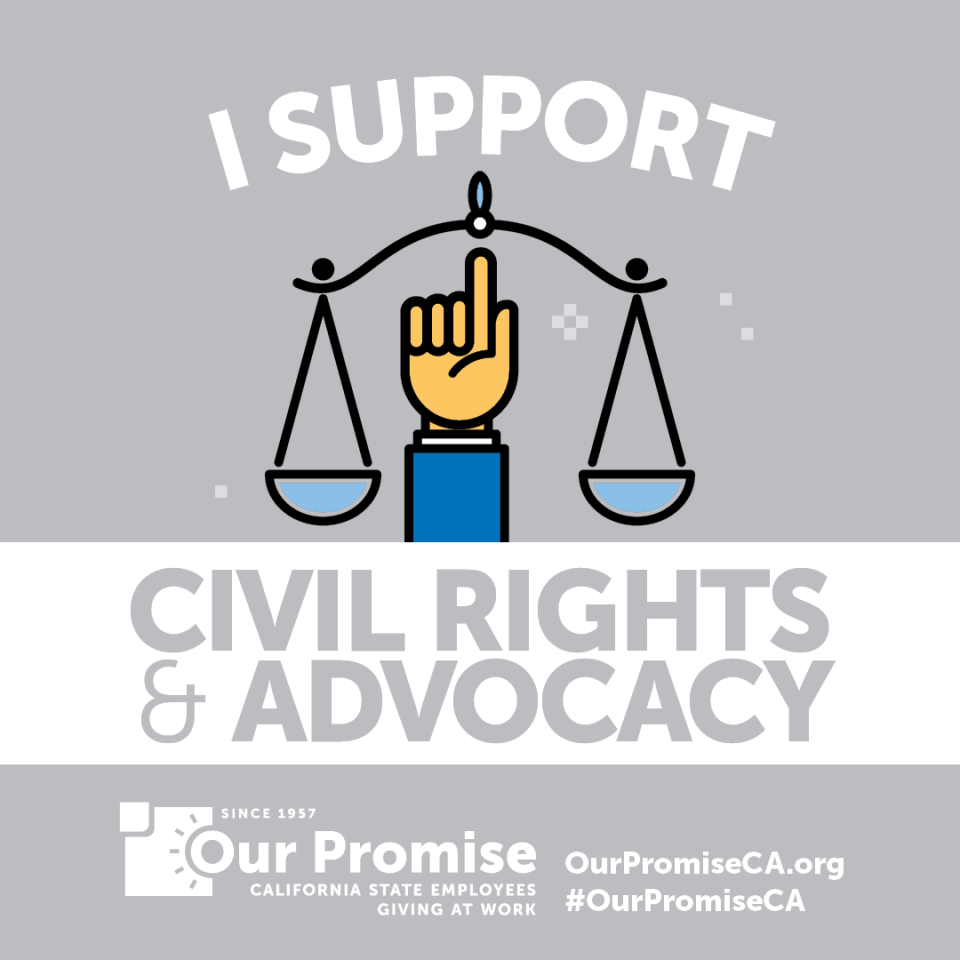 I Support: CIVIL RIGHTS & ADVOCACY. Scales with an icon of a hand pointing up.
