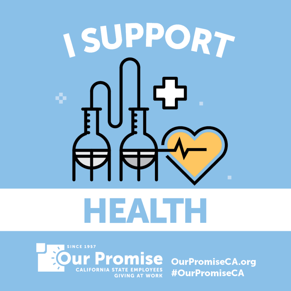 I Support: HEALTH.  Icon: test tubes, heart with lifeline and medical cross.
