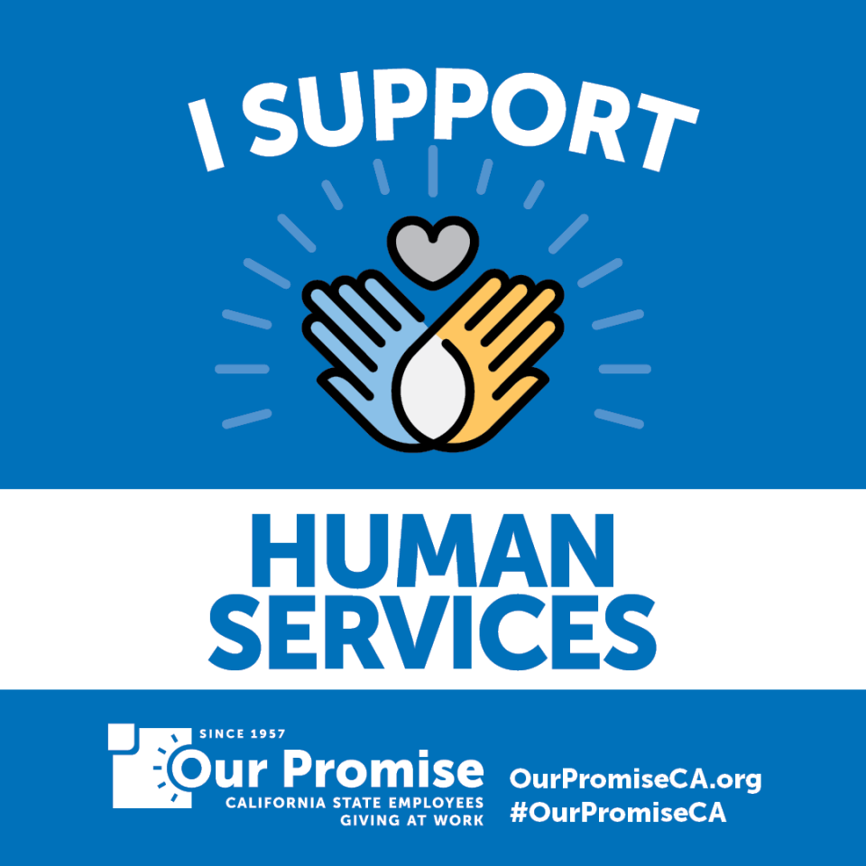 I Support: HUMAN SERVICES. Two hands intersecting with heart.