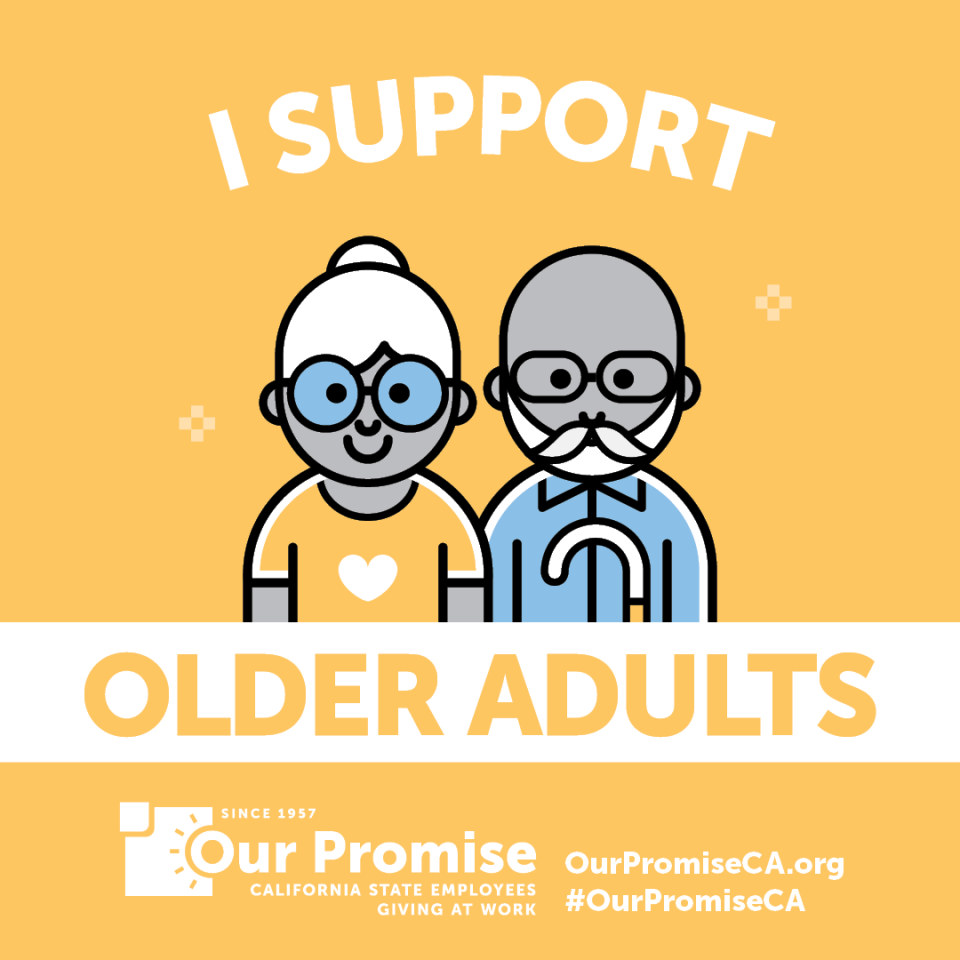 I Support: OLDER ADULTS. Icon of 2 older adults with eyeglasses.