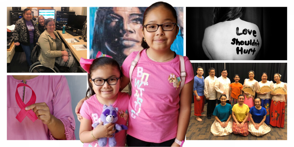 "Photos of various causes. Women smiling at a radio studio, one in a wheelchair. torso of a woman wearing pink with a bright pink ribbon, a person's back with painted words ""love shouldn' hurt"", group of people in Filipino cultural regalia, two little Latina girls smiling, wearing pink shirts and eyeglasses."