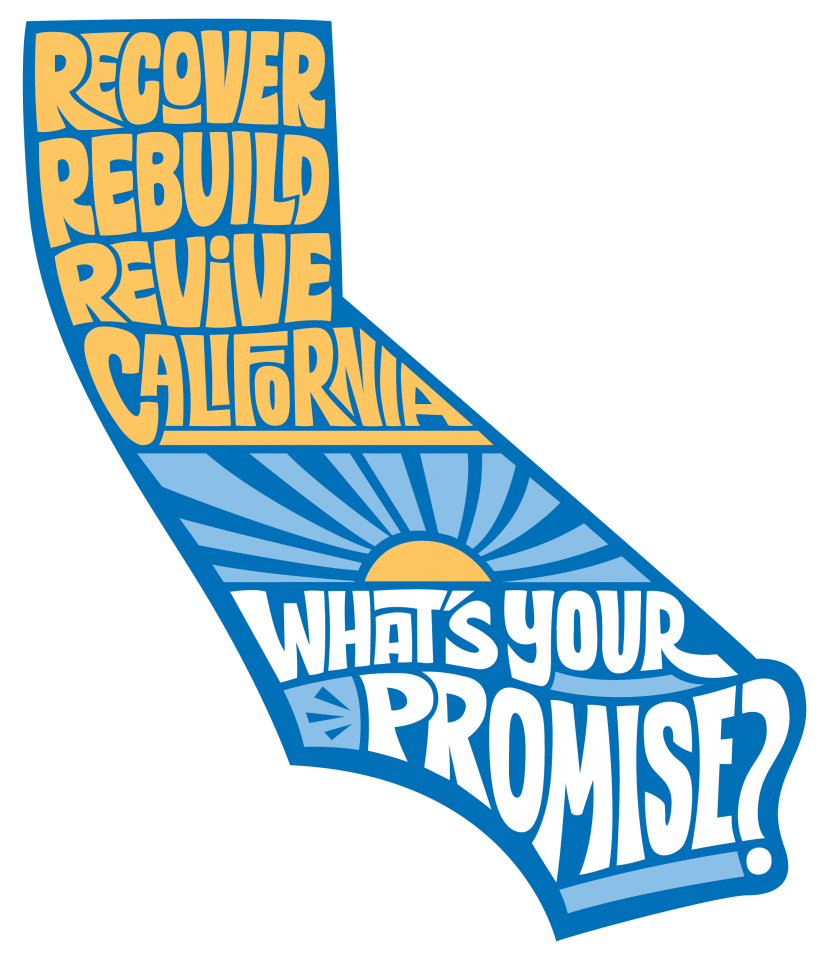 Text: Keep California Strong For All in the shape of California with poppies in the background